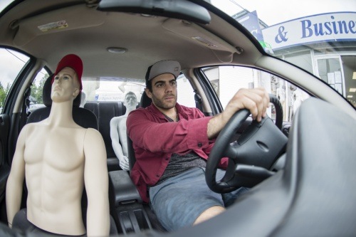 CEO of Canada Boutique Bags Shai Azoulay drives along his mannequins on June 30, 2015 . Azoulay has posted ads online to rent out his mannequins to individual drivers hoping to take advantage of the new HOF lanes in effect for the Pan Am games. Brian B. Bettencourt / Toronto Star